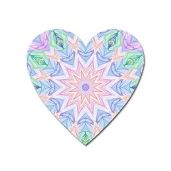 Soft Rainbow Star Mandala Magnet (Heart)