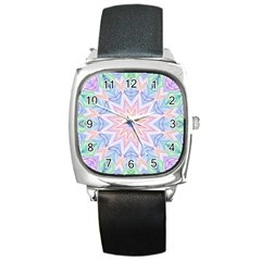Soft Rainbow Star Mandala Square Leather Watch