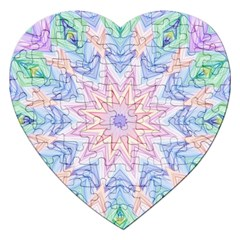 Soft Rainbow Star Mandala Jigsaw Puzzle (Heart)