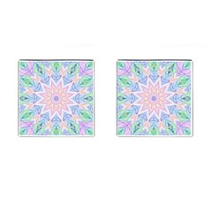 Soft Rainbow Star Mandala Cufflinks (Square)