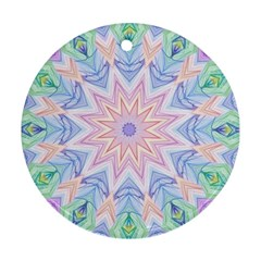 Soft Rainbow Star Mandala Round Ornament (two Sides)
