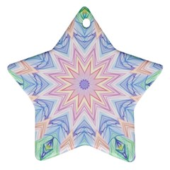 Soft Rainbow Star Mandala Star Ornament (two Sides)