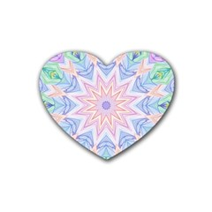 Soft Rainbow Star Mandala Drink Coasters 4 Pack (Heart)
