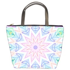 Soft Rainbow Star Mandala Bucket Handbag