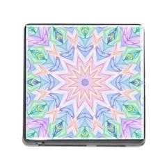 Soft Rainbow Star Mandala Memory Card Reader with Storage (Square)