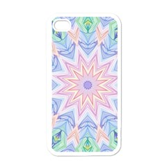 Soft Rainbow Star Mandala Apple iPhone 4 Case (White)