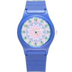 Soft Rainbow Star Mandala Plastic Sport Watch (small)