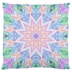 Soft Rainbow Star Mandala Large Cushion Case (Two Sided)