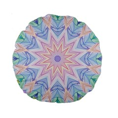Soft Rainbow Star Mandala 15  Premium Round Cushion
