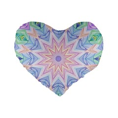 Soft Rainbow Star Mandala 16  Premium Heart Shape Cushion