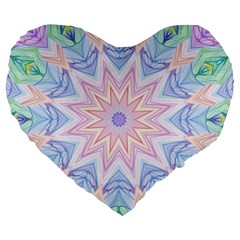 Soft Rainbow Star Mandala 19  Premium Heart Shape Cushion