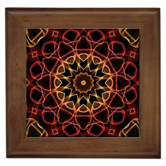 Yellow And Red Mandala Framed Ceramic Tile
