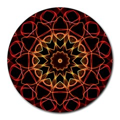 Yellow And Red Mandala 8  Mouse Pad (Round)