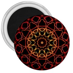 Yellow And Red Mandala 3  Button Magnet