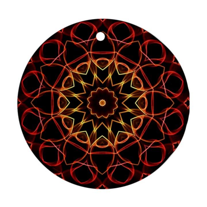Yellow And Red Mandala Round Ornament