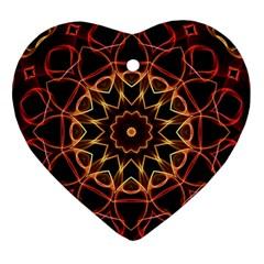 Yellow And Red Mandala Heart Ornament