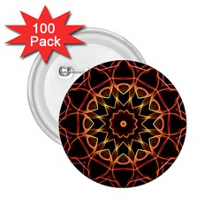 Yellow And Red Mandala 2 25  Button (100 Pack)