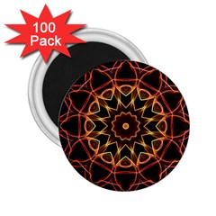 Yellow And Red Mandala 2 25  Button Magnet (100 Pack)
