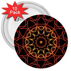 Yellow And Red Mandala 3  Button (10 pack)