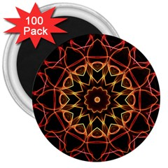 Yellow And Red Mandala 3  Button Magnet (100 pack)