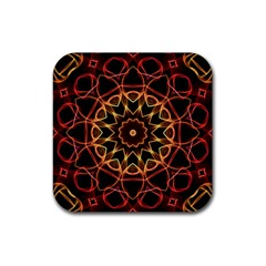 Yellow And Red Mandala Drink Coaster (square)
