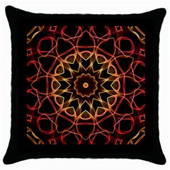 Yellow And Red Mandala Black Throw Pillow Case