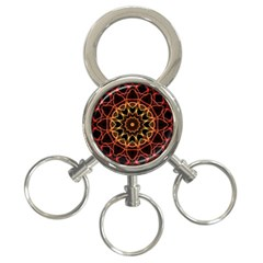 Yellow And Red Mandala 3-Ring Key Chain