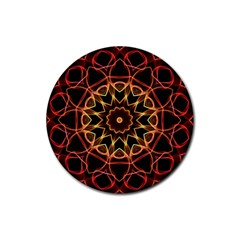 Yellow And Red Mandala Drink Coasters 4 Pack (Round)