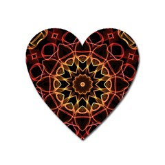Yellow And Red Mandala Magnet (heart)
