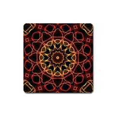Yellow And Red Mandala Magnet (Square)