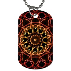 Yellow And Red Mandala Dog Tag (One Sided)