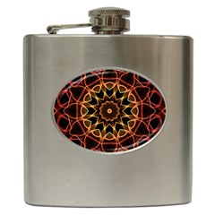 Yellow And Red Mandala Hip Flask