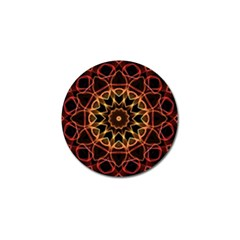 Yellow And Red Mandala Golf Ball Marker