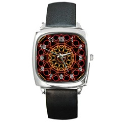 Yellow And Red Mandala Square Leather Watch