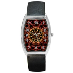 Yellow And Red Mandala Tonneau Leather Watch