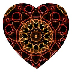 Yellow And Red Mandala Jigsaw Puzzle (heart)