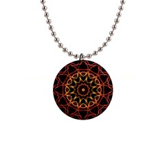 Yellow And Red Mandala Button Necklace