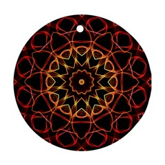 Yellow And Red Mandala Round Ornament (Two Sides)