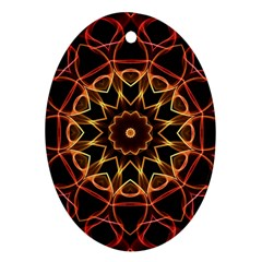 Yellow And Red Mandala Oval Ornament (two Sides)