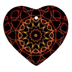Yellow And Red Mandala Heart Ornament (Two Sides)