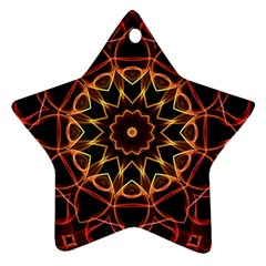 Yellow And Red Mandala Star Ornament (Two Sides)