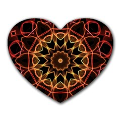Yellow And Red Mandala Mouse Pad (Heart)