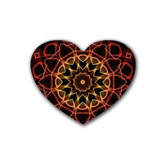 Yellow And Red Mandala Drink Coasters (Heart)