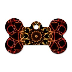 Yellow And Red Mandala Dog Tag Bone (two Sided)