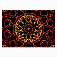 Yellow And Red Mandala Glasses Cloth (Large, Two Sided)