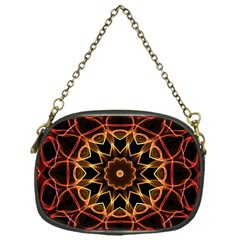 Yellow And Red Mandala Chain Purse (one Side)