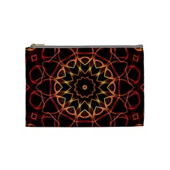 Yellow And Red Mandala Cosmetic Bag (medium)