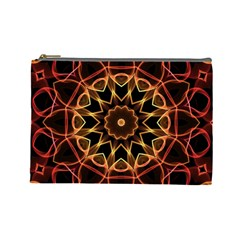 Yellow And Red Mandala Cosmetic Bag (large)