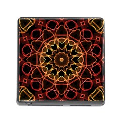 Yellow And Red Mandala Memory Card Reader with Storage (Square)