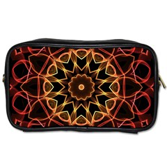 Yellow And Red Mandala Travel Toiletry Bag (one Side)